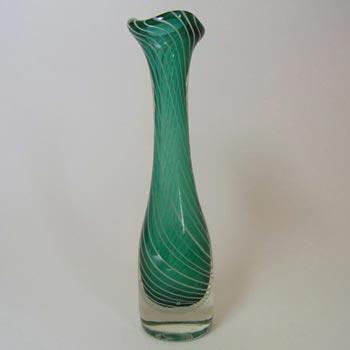 Scandinavian Green & White Spiral Cased Glass Vase