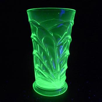 Bagley #3153 Art Deco Uranium Green Glass 'Osprey' Vase