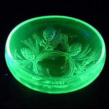 Jobling #5000 Art Deco Uranium Green Glass Fircone Bowl/Dish